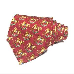 Salvatore Ferragamo Burgundy Horse Tie EUC